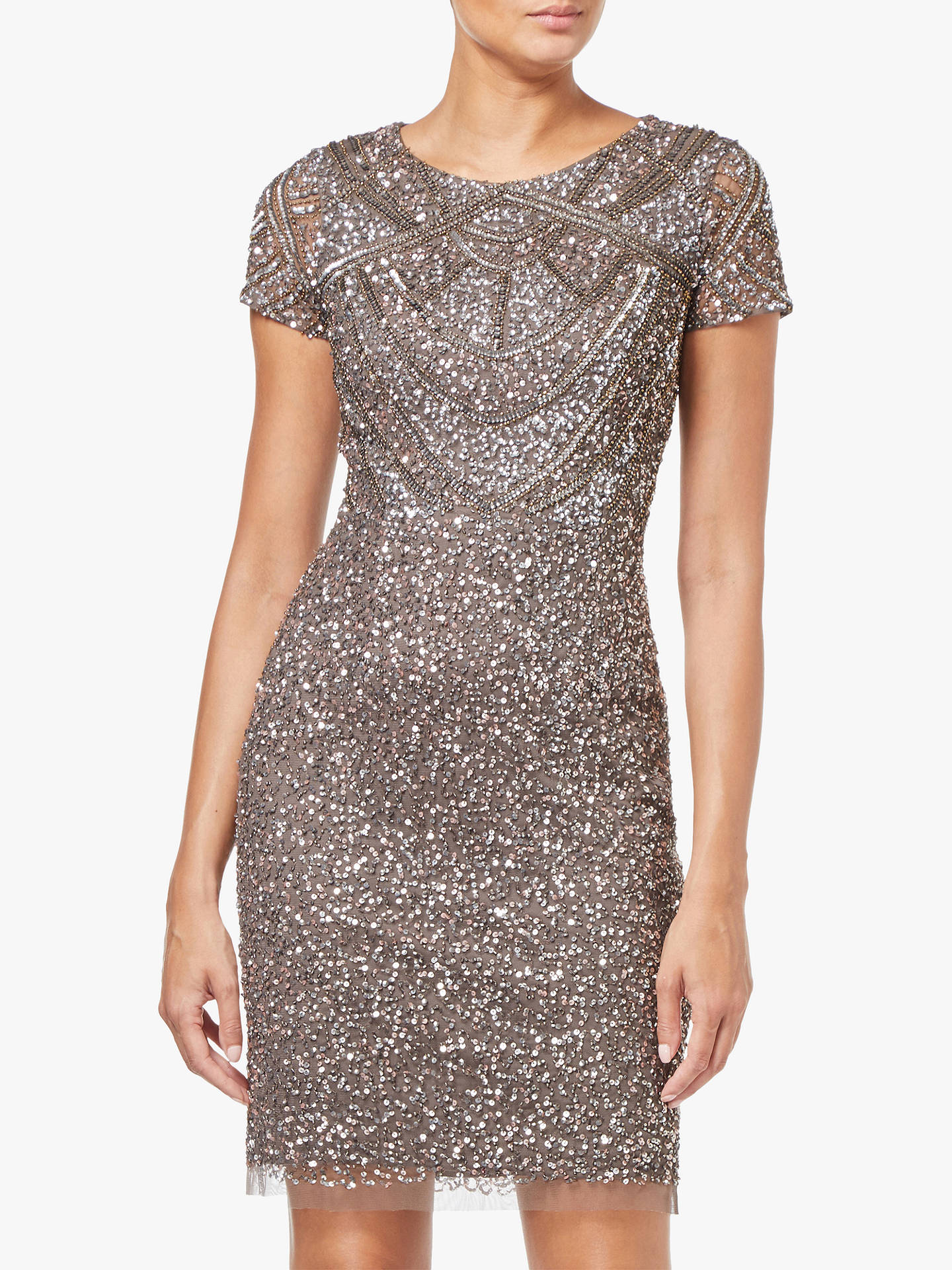 774836748d5 Buy Adrianna Papell Short Sleeve Beaded Cocktail Dress, Lead, 8 Online at  johnlewis.