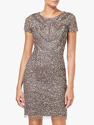 Adrianna Papell Short Sleeve Beaded Cocktail Dress, Lead