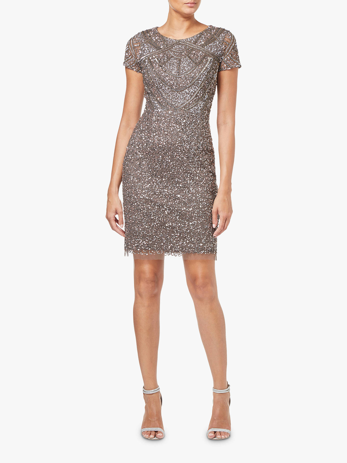 Buy Adrianna Papell Short Sleeve Beaded Cocktail Dress, Lead, 8 Online at johnlewis.com