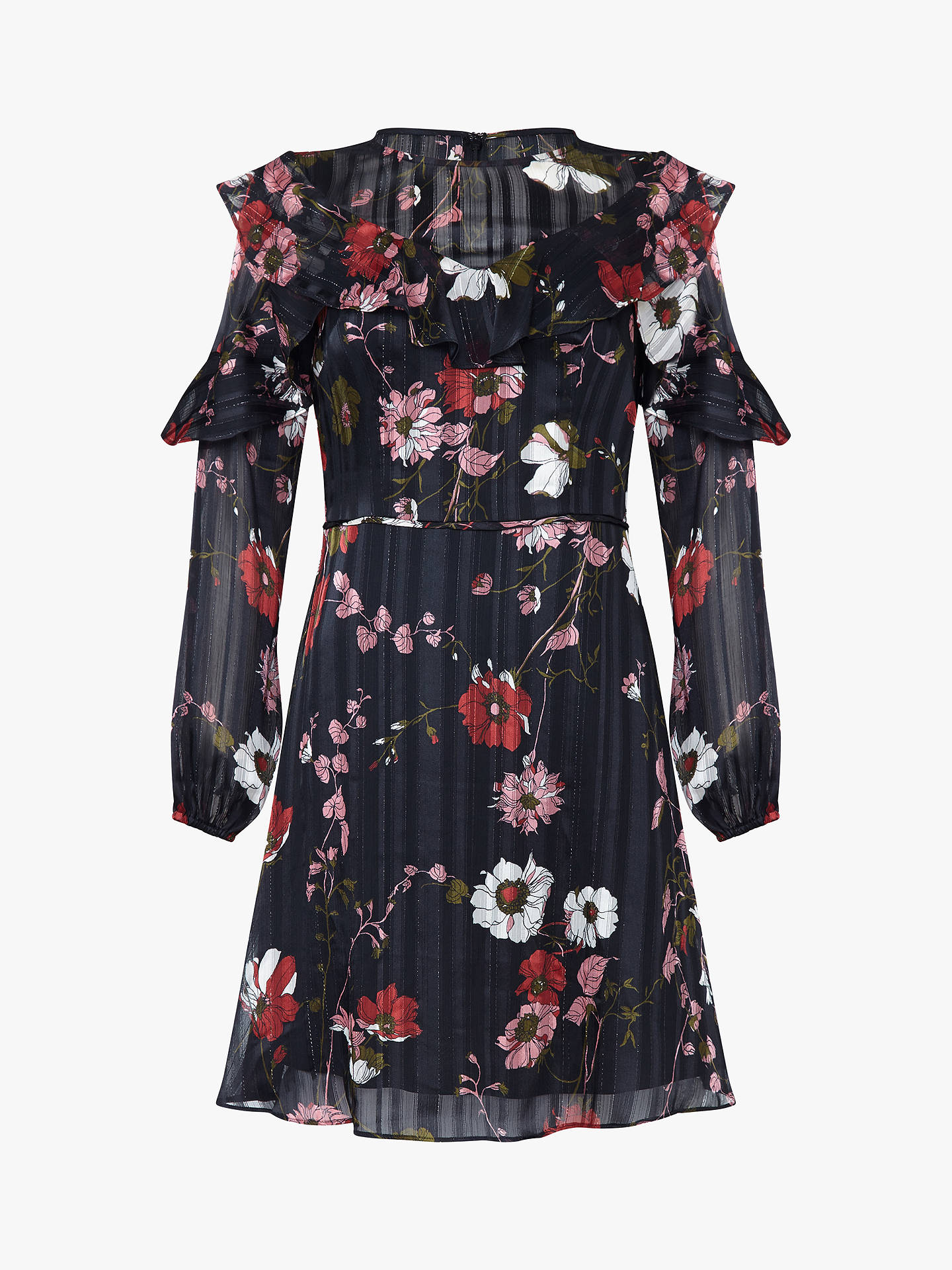 BuyAdrianna Papell Floral Lurex Ruffle Sleeve Dress, Black/Red/Multi, 18 Online at johnlewis.com