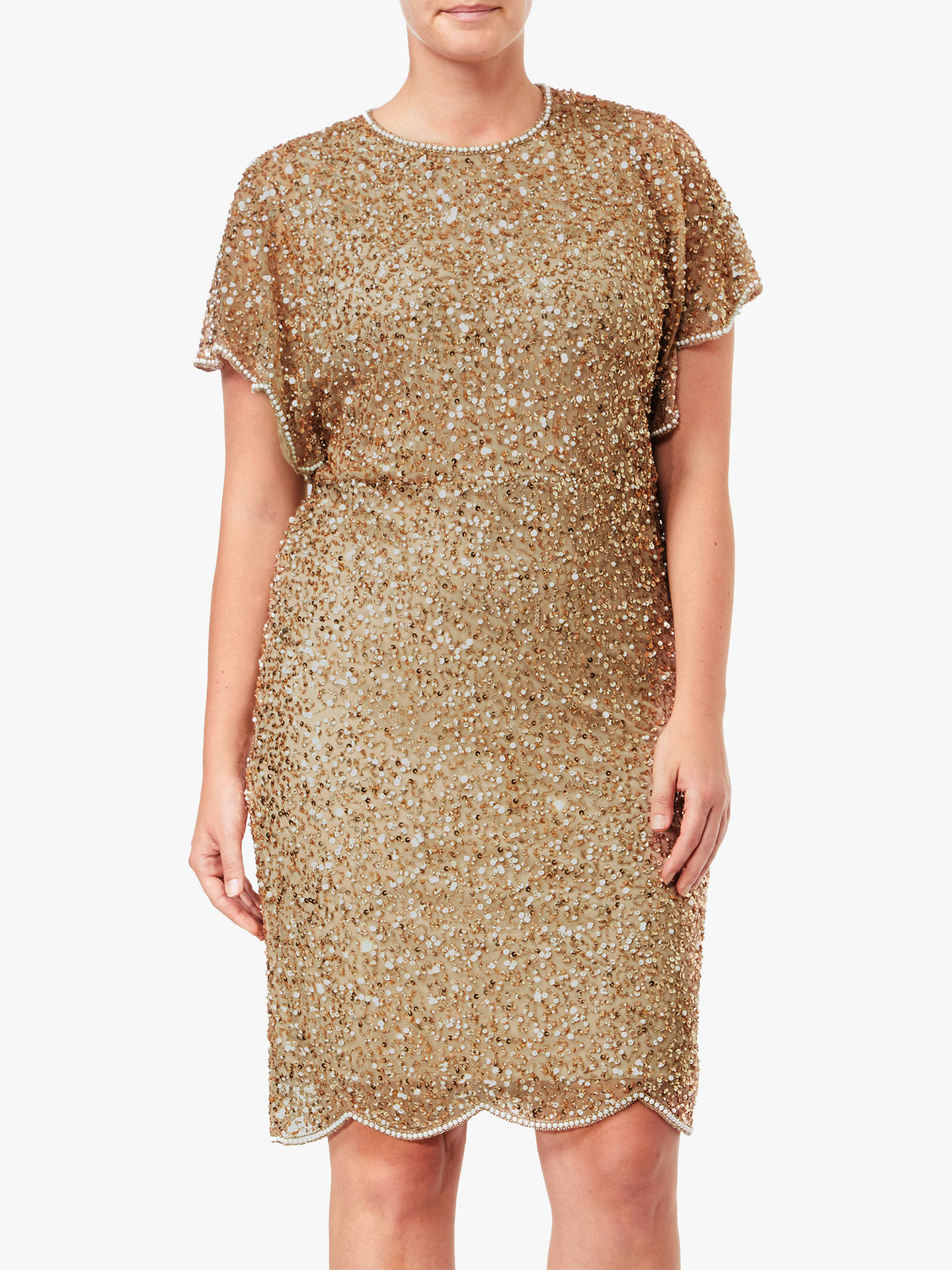Buy Adrianna Papell Flutter Sleeve Sequin Beaded Plus Size Cocktail Dress, Champagne Gold, 18 Online at johnlewis.com