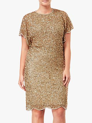 Adrianna Papell Flutter Sleeve Sequin Beaded Plus Size Cocktail Dress, Champagne Gold