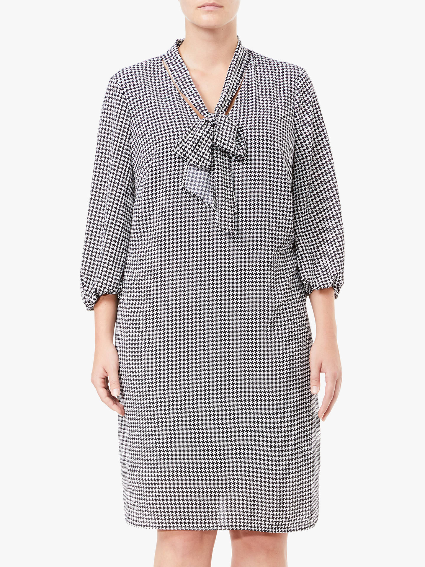 Adrianna Papell Plus Size Houndstooth Shift Dress, Black/Ivory at ...