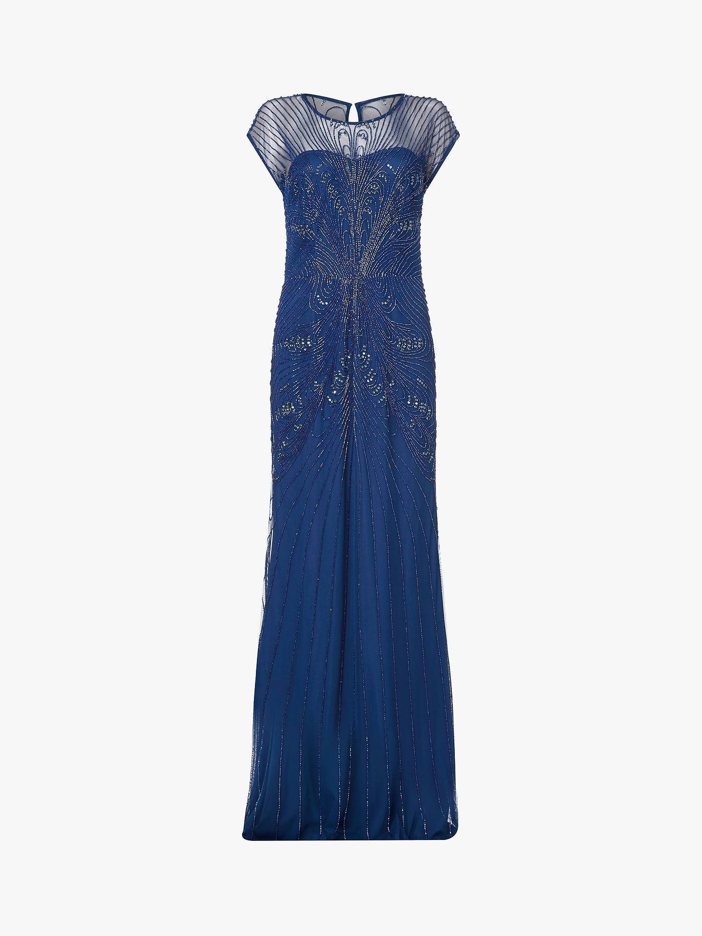 BuyAdrianna Papell Beaded Cap Sleeve Maxi Dress, Deep Blue, 8 Online at johnlewis.com