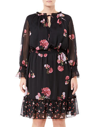 Buy Adrianna Papell Plus Size Loving Floral Dress, Black, 18 Online at johnlewis.com