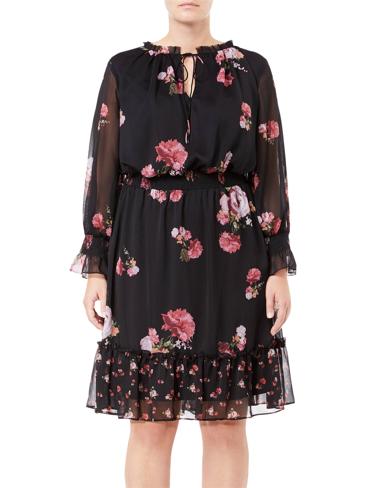 BuyAdrianna Papell Plus Size Loving Floral Dress, Black, 18 Online at johnlewis.com