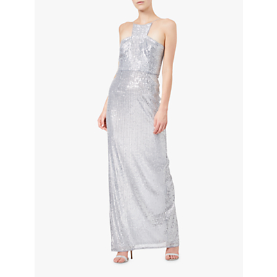 Adrianna Papell Sequin Long Dress, Silver