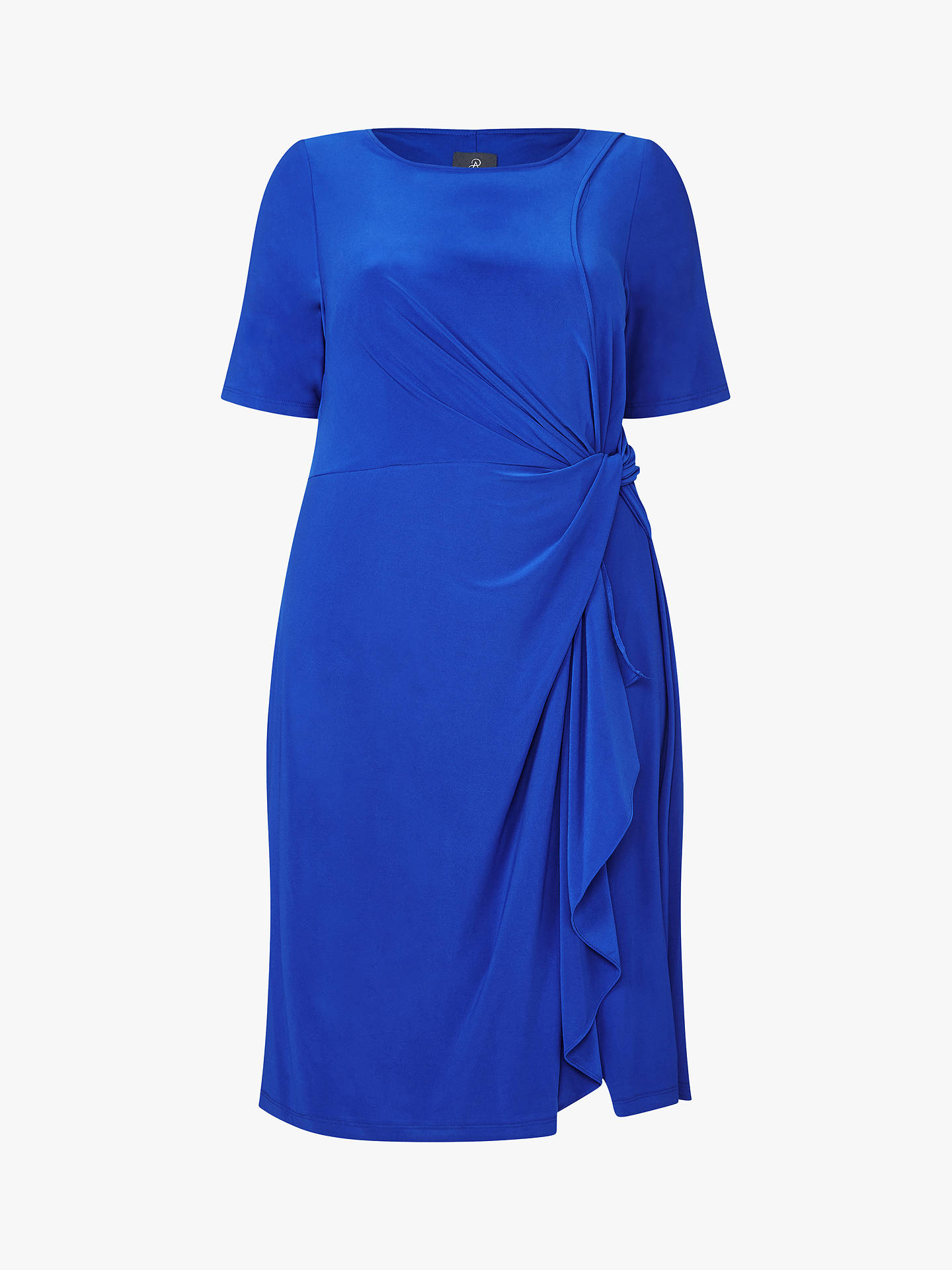 Buy Adrianna Papell Plus Size Matte Jersey Asymmetric Sheath Dress, Cyprus Blue, 18 Online at johnlewis.com