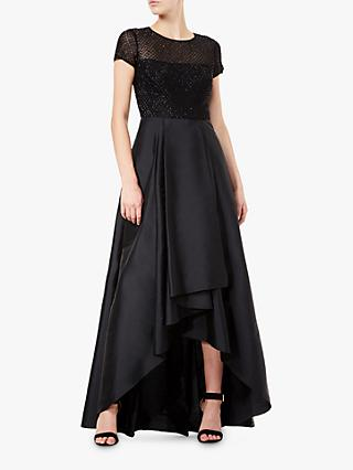Adrianna Papell Beaded Satin Cocktail Dress, Black