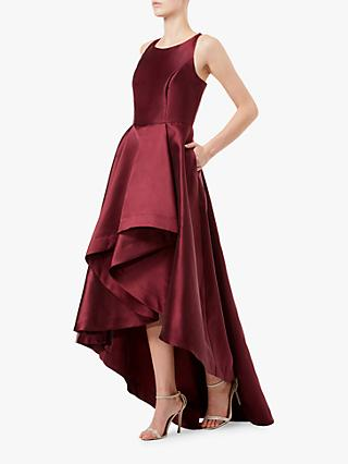 Adrianna Papell Mikado A-Line High Low Dress, Garnet