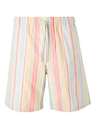 John Lewis & Partners Chambray Multi Stripe Lounge Shorts, Multi