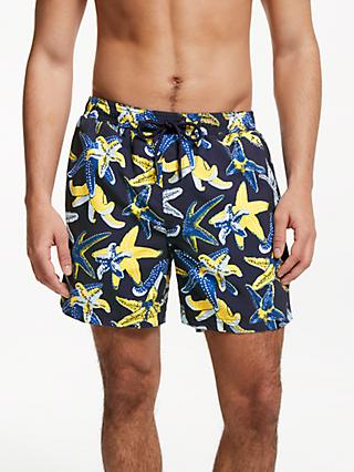 John Lewis & Partners Starfish Swim Shorts, Navy/Yellow