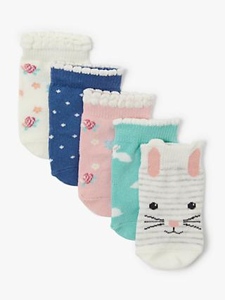 John Lewis   Partners Baby Bunny Socks, Pack of 5, Multi 5ba6cd83b5