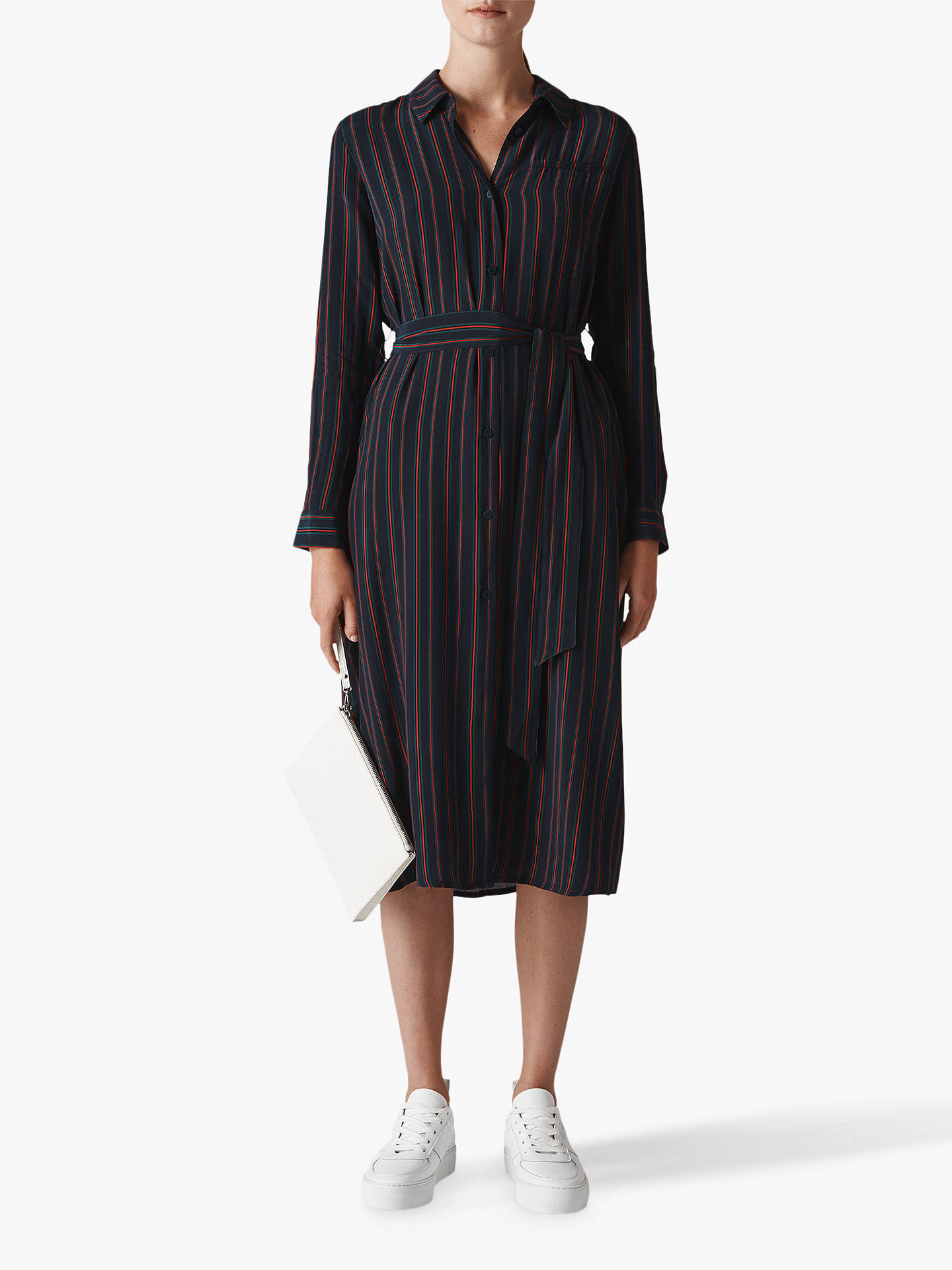 Whistles Stripe Longline Shirt Dress Bluered At John Lewis Partners