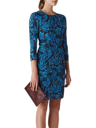 Whistles Parker Print Silk Bodycon Dress, Multi