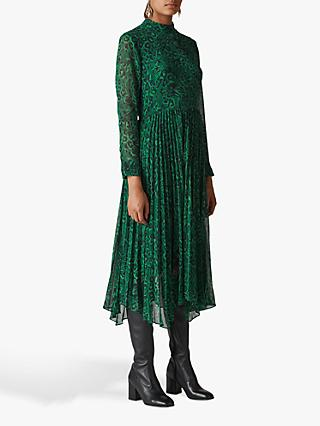Whistles Jungle Cat Pleated Dress, Green/Multi