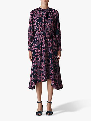 Whistles Papillion Print Shirt Dress, Pink/Multi