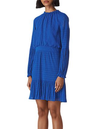 Whistles Oriel Dobby Pleated Mini Dress, Blue