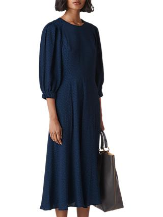 Whistles Fay Animal Jacquard Dress, Navy