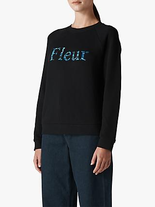 Whistles Fleur Embroidered Jumper, Black
