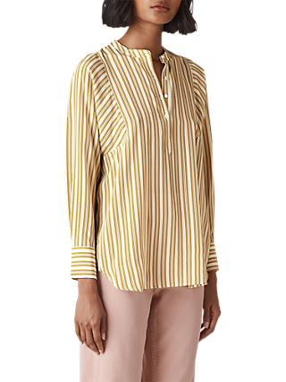 Whistles Silk Stripe Shirt, Yellow/Multi