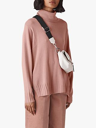 Whistles Cashmere Roll Neck, Pale Pink