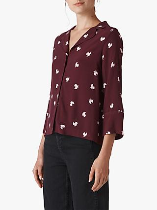Whistles Dove Print Pyjama Shirt, Burgundy