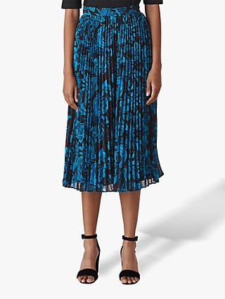 Whistles Parker Print Pleated Skirt, Multi