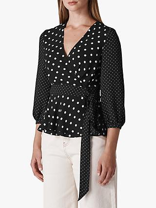 Whistles Multi Spot Print Wrap Top, Black/White