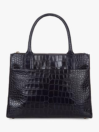 Hobbs Leather Crocodile Embossed Oxford Tote Bag, Navy