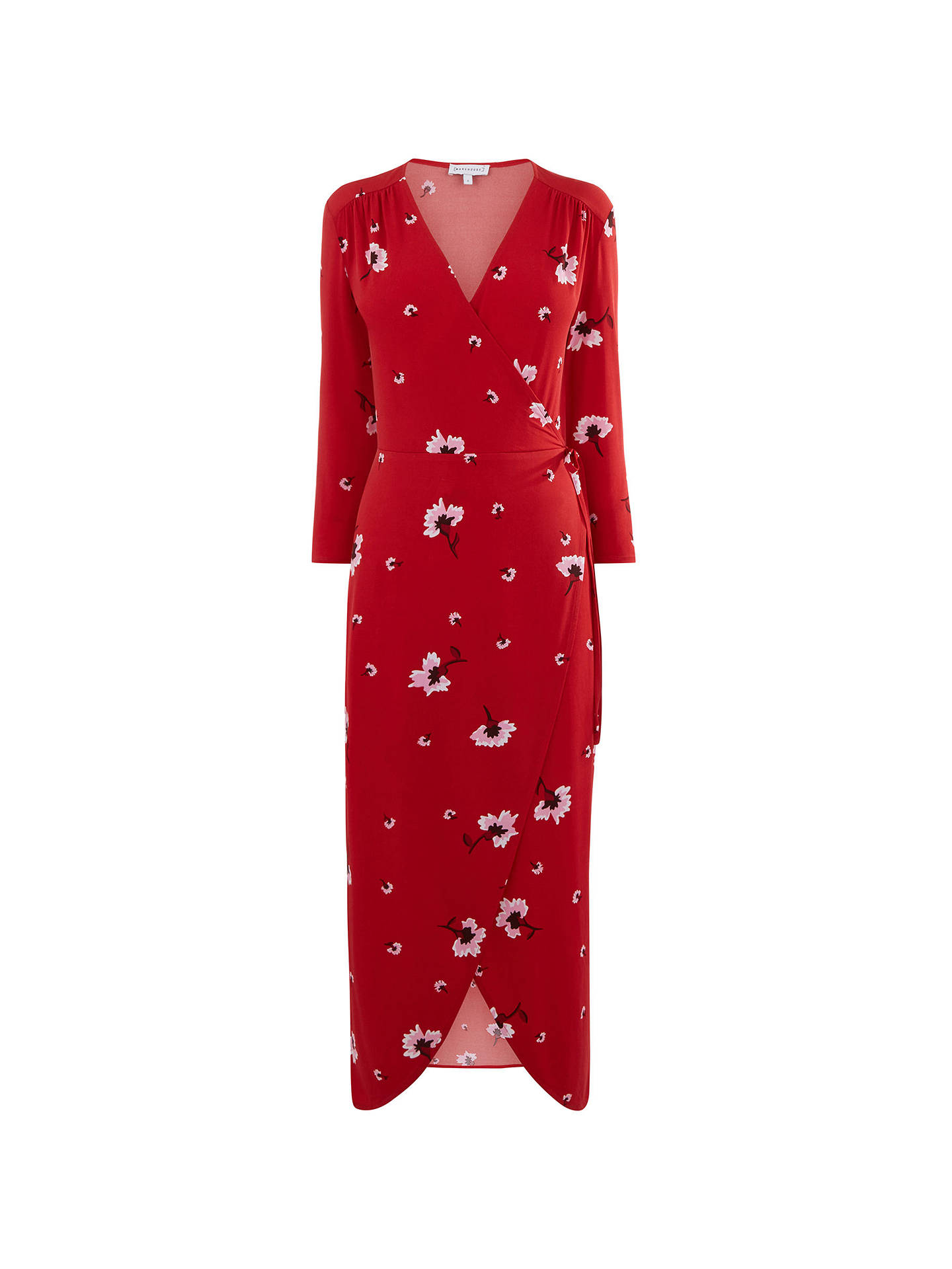 best sell best authentic size 7 Warehouse Floral Wrap Dress, Red/Multi at John Lewis & Partners