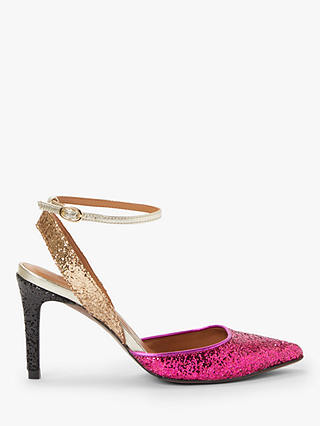 Buy AND/OR Ailey Slingback Stiletto Heel Court Shoes, Pink/Gold Glitter, 6 Online at johnlewis.com