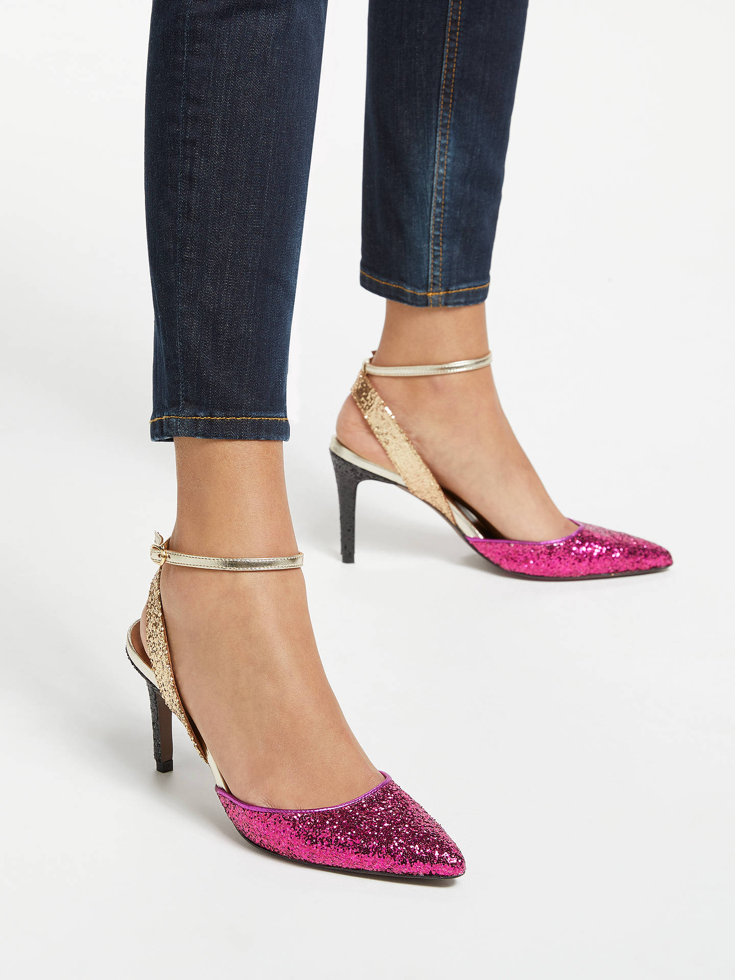 Buy AND/OR Ailey Slingback Stiletto Heel Court Shoes, Pink/Gold Glitter, 4 Online at johnlewis.com