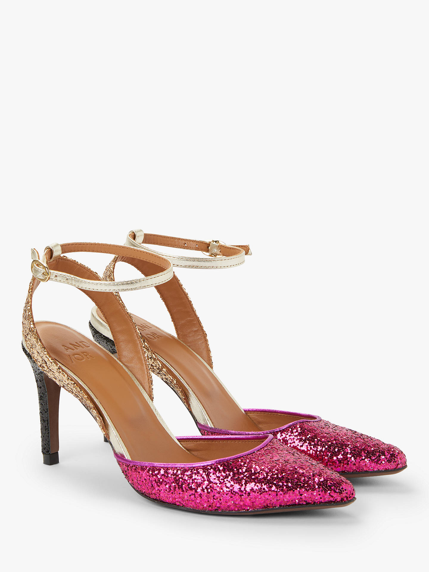 93e042e52298f AND/OR Ailey Slingback Stiletto Heel Court Shoes, Pink/Gold Glitter ...