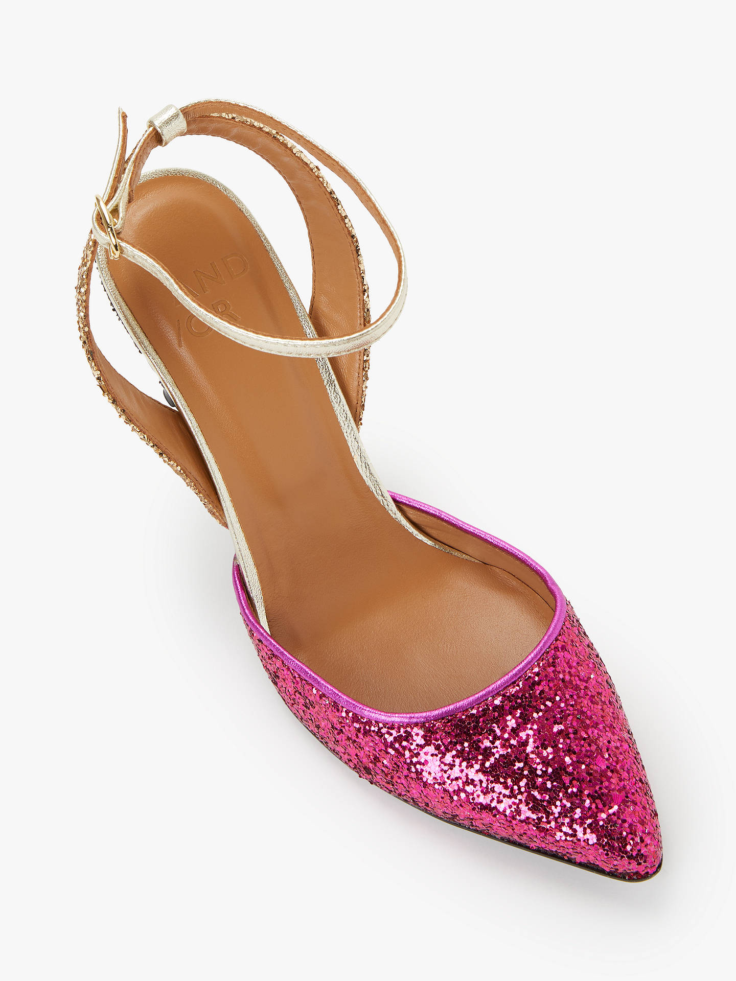 Buy AND/OR Ailey Slingback Stiletto Heel Court Shoes, Pink/Gold Glitter, 5 Online at johnlewis.com