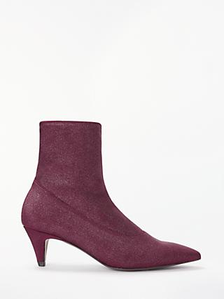 AND/OR Ailia Kitten Heel Sock Ankle Boots, Red