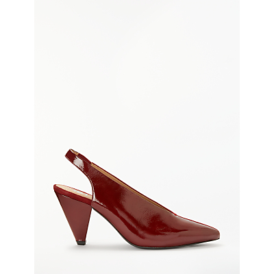 Kin Alba Cone Slingback Court Shoes, Red