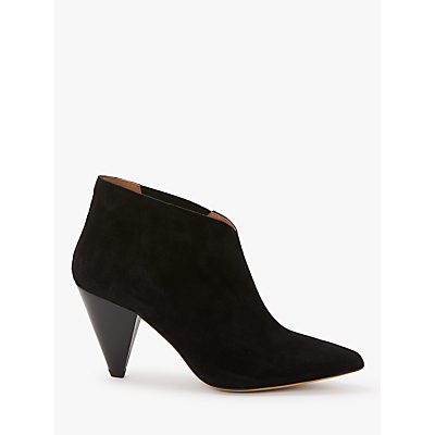 Kin Odelia Cone Heel Ankle Boots, Black Leather/Suede