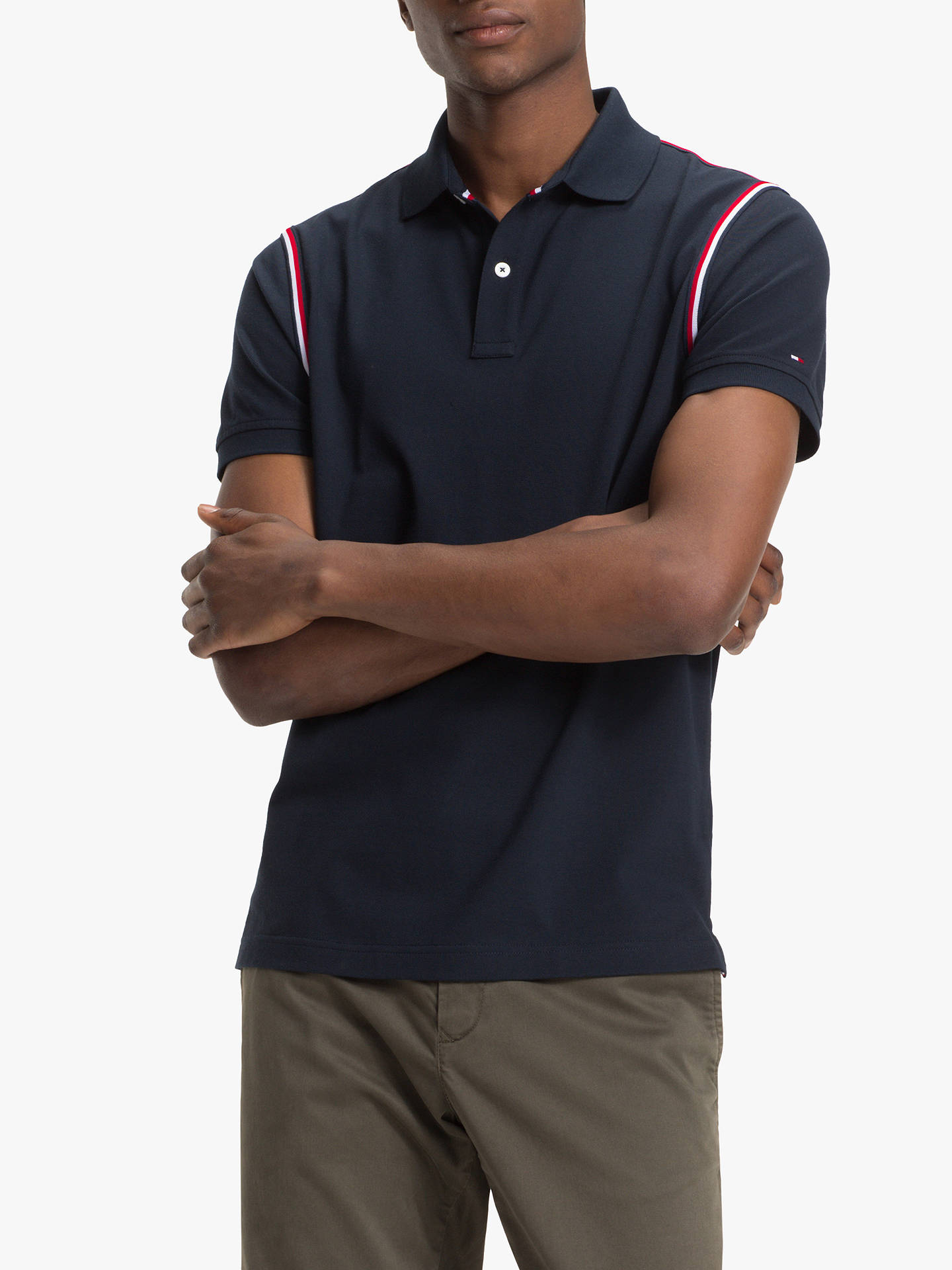 ac99748febb Tommy Hilfiger Tape Slim Fit Polo Shirt, Sky Captain at John Lewis ...
