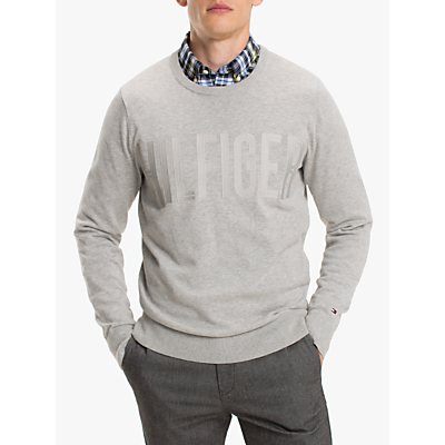 Tommy Hilfiger Embroidered Graphic Jumper, Cloud Heather