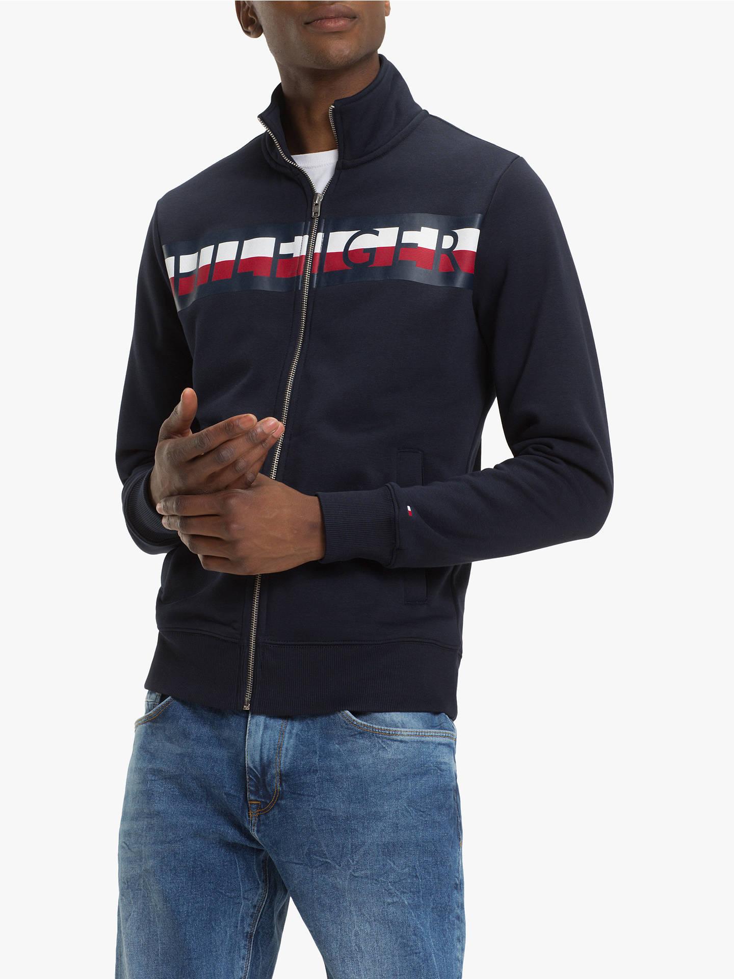 7a8056ea Buy Tommy Hilfiger Zip Through Sweatshirt, Sky Captain, XL Online at  johnlewis.com ...