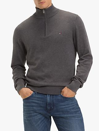 Tommy Hilfiger Zipped Mock Neck Jumper, Magnet Heather