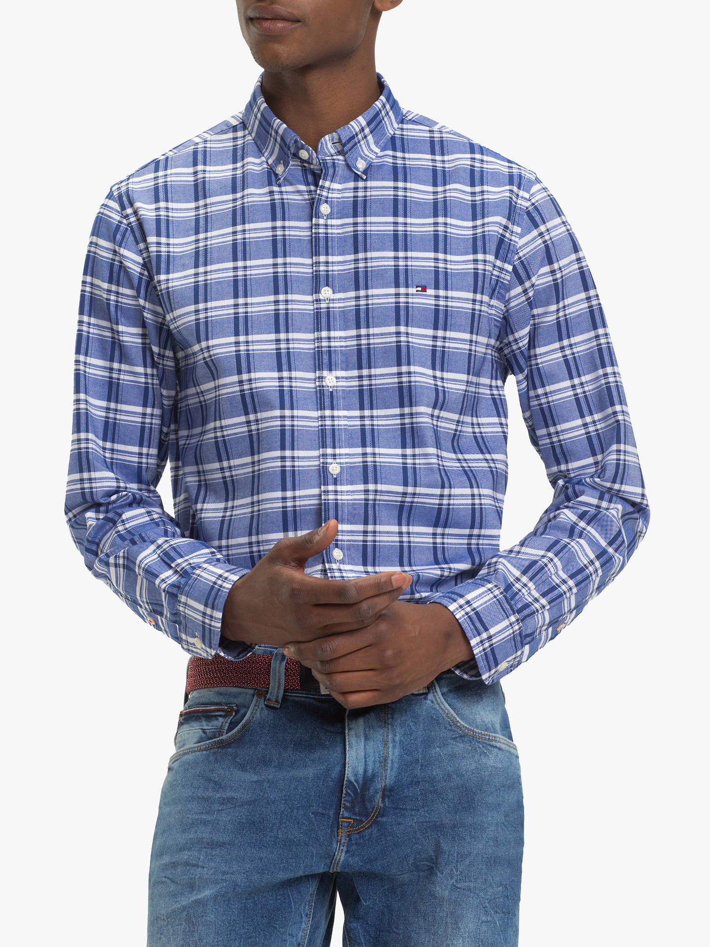 df231f84a Buy Tommy Hilfiger Mid Scale Check Oxford Shirt, Blue, M Online at  johnlewis.