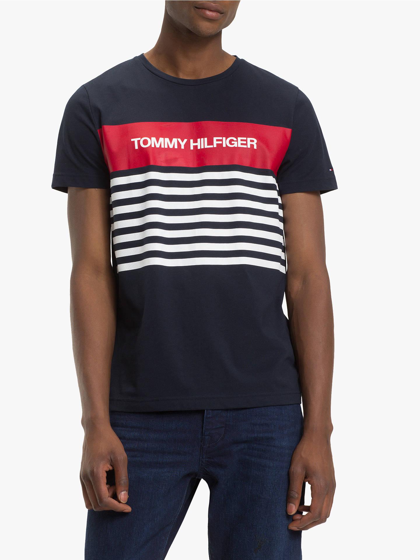ad6c6913 Buy Tommy Hilfiger Colour Block Stripe T-Shirt, Sky Captain, L Online at ...