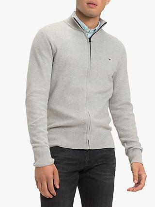 Tommy Hilfiger Mesh Structured Zip Jumper, Cloud Heather