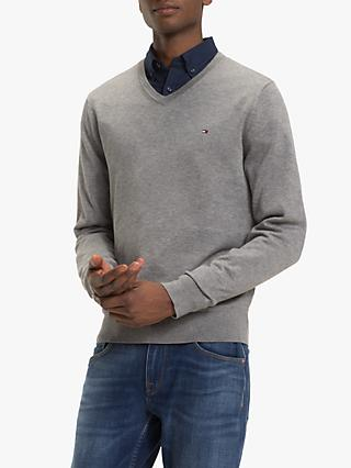 Tommy Hilfiger Cotton Silk V Neck Jumper, Silver Fog Heather