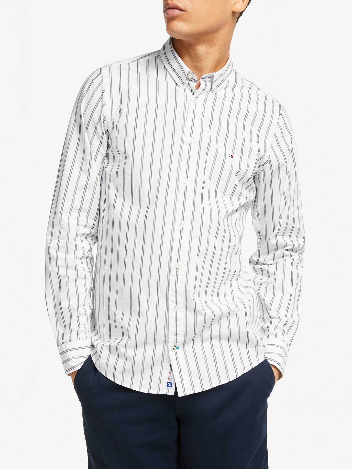 ac8c862e1 Buy Tommy Hilfiger Slim Fit Campus Stripe Shirt, White, M Online at  johnlewis.