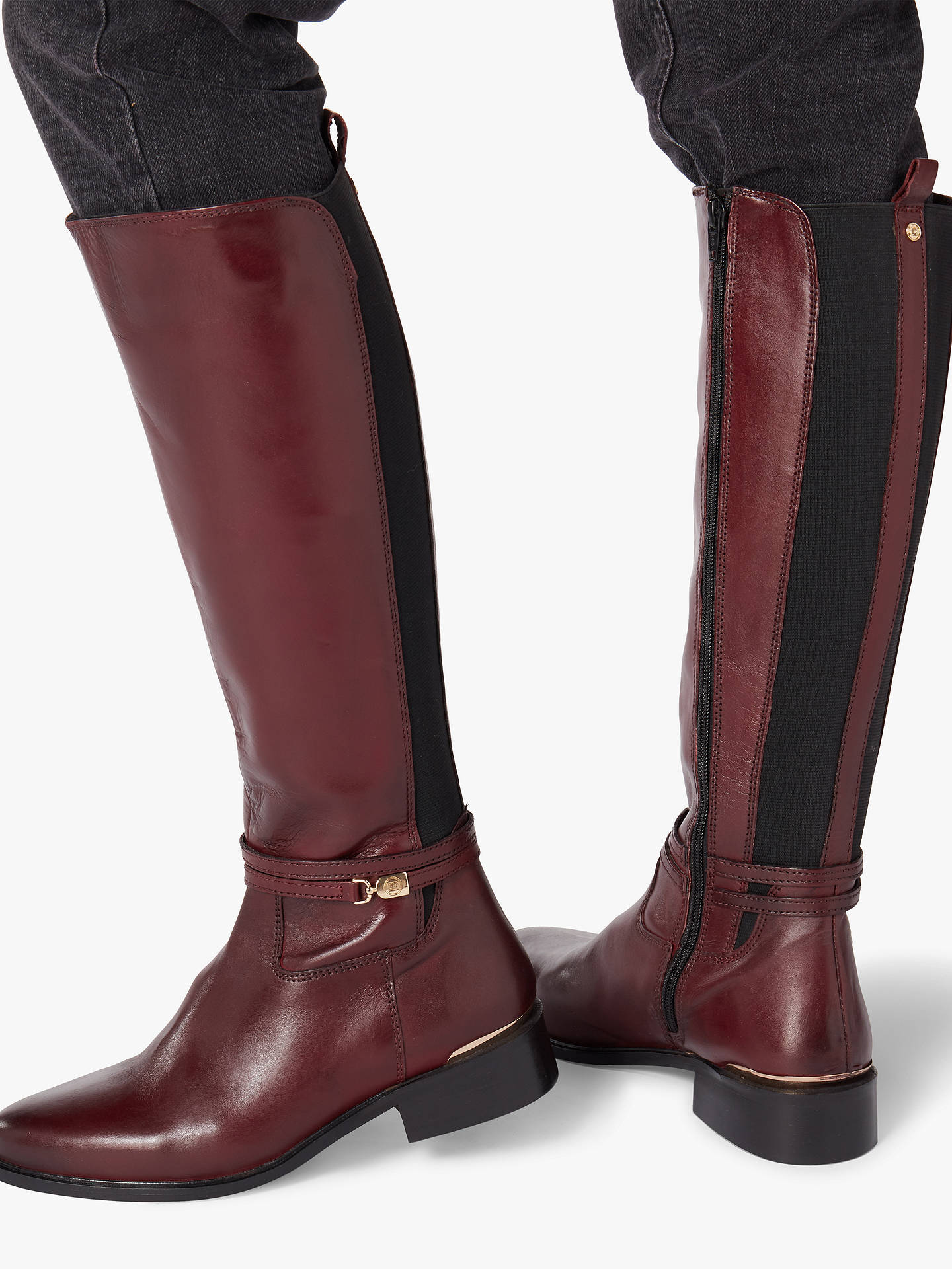 7583b5096f07 ... Buy Dune Traviss Knee Boots, Burgundy Leather, 3 Online at  johnlewis.com ...