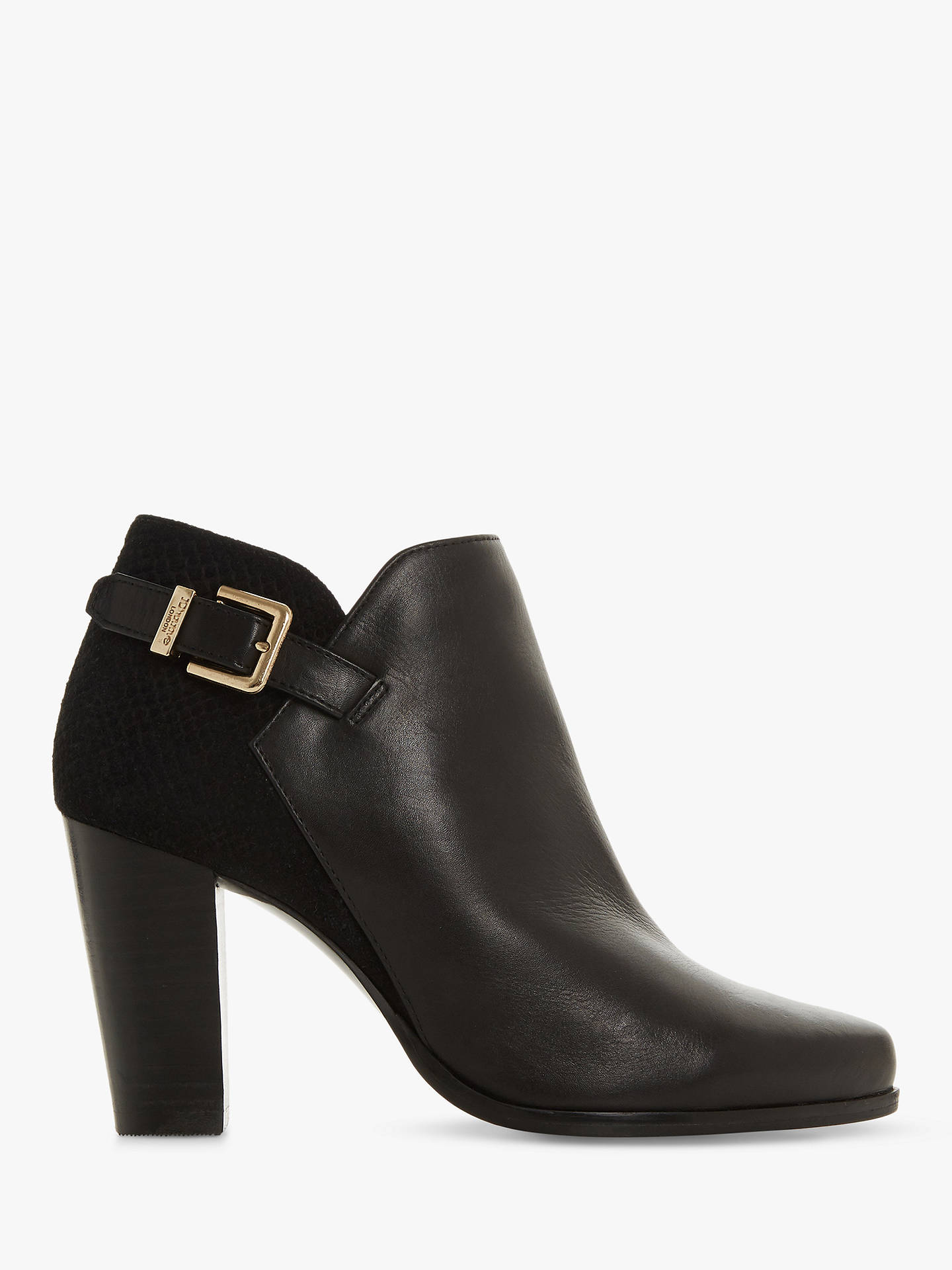 521a4f39b37a6 Buy Dune Oleria Wide Fit Ankle Boots, Black Leather, 4 Online at johnlewis.