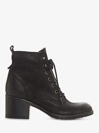 Dune Patsie D Leather Lace Up Ankle Boots, Black Nubuck